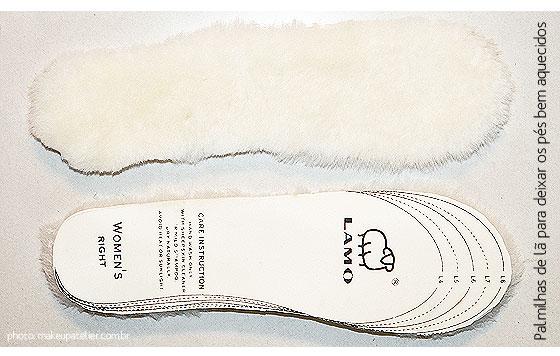 palmilha de lã para o inverno