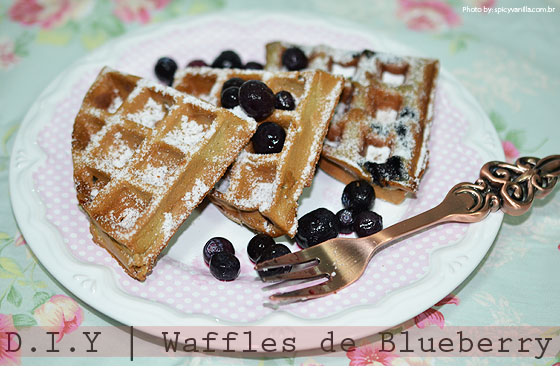 Receita waffles blueberry