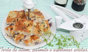 torta capa - #CinthiaNaCozinha |Torta de Atum, palmito e azeitonas pretas.